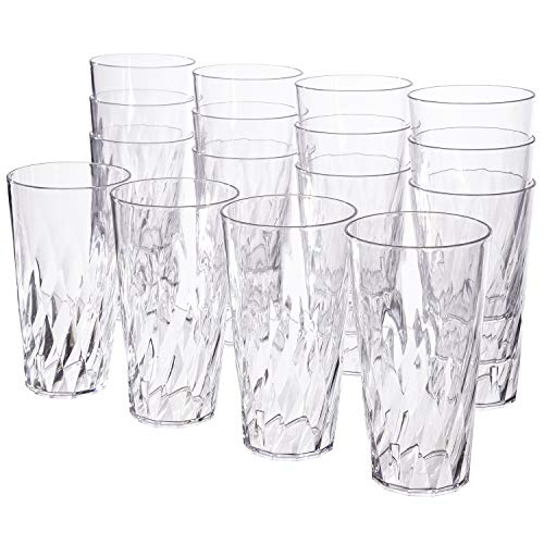 Palmetto 20-ounce Clear Plastic Tumblers | set of 16 (Plastic Stackable Tumblers)