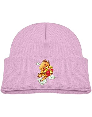 Kids Fashion Happy Horse Have A Gift Casual Flexible Winter Knit Hats/Ski Cap/Beanie/Skully Hat Cap