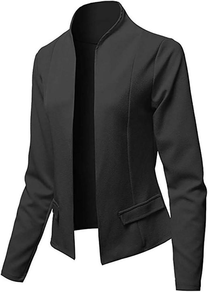 AMUSTER Damen Blazer Cardigan D/ünn Elegant Leicht Bolero Jacke Blazer Slim Fit Anzug Trenchcoat Anzugjacke f/ür Business Office