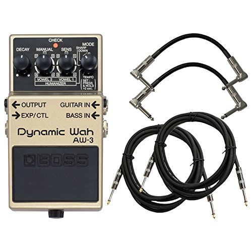 (BOSS AW-3 Dynamic Wah Pedal Bundle w/4 Free Cables)