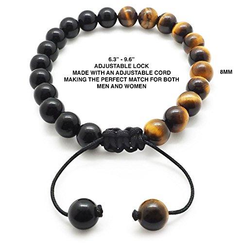 Chakra Bracelet KRMA Organic Cotton Jewelry Bag | Black Agate & Tiger Eye | Japanese String | Energy Stone Prosperity Bracelet by KRMA Prosperity Jewelry (Image #1)