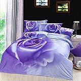 TheFit Home Textile, Rose 405 Cotton Bedding a Family, 3D Oil Print Bedding Cotton Luxury Romantic Bedroom 4 Pcs Queen Set