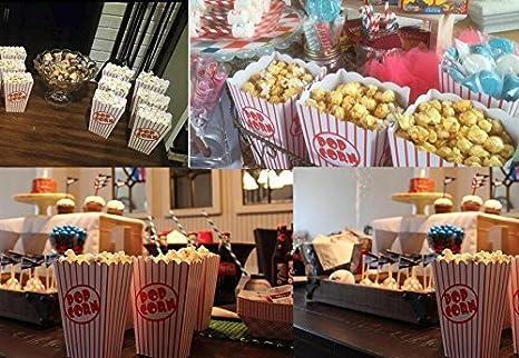 Tebery 48 Pcs Cine pequeñas cajas de palomitas de maíz - Papel cajas de palomitas de rayas rojo y blanco miden: 16 x 10 x 7 cm: Amazon.es: Hogar