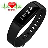 Fitness Tracker Heart Rate Monitor Blood Pressure Bracelet Sedentary Reminding Sleep Management Alarm SNS Call Reminder Pedometer Sport Activity Healthy Wristband with OLED Touch (black)