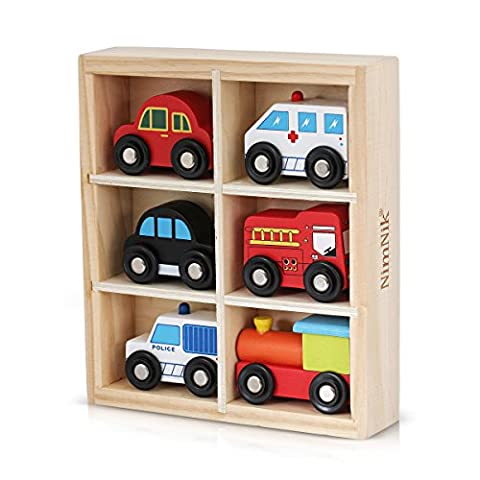 Wooden Toys Cars Bus Engine Emergency Vehicles Educational Toy for Early Learning for Toddlers by NimNik