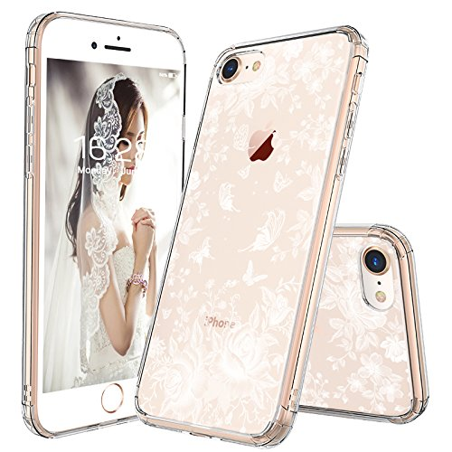 (iPhone 7 Case, iPhone 8 Slim Case, MOSNOVO White Roses Garden Floral Printed Flower Clear Design Plastic Back Hard Case with Soft TPU Bumper Protective Case Cover for iPhone 7 (2016) / iPhone 8 (2017))