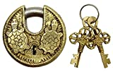 Gold Tone Brass Metal Tortoise Design Padlock Home Decorative Locks With 2 Keys