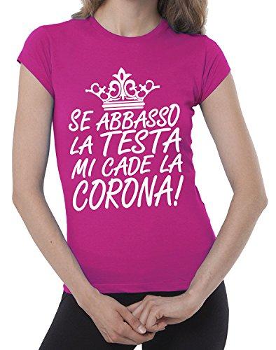 JHK LA 100 Fermento CADE CORONA Italia Fuxia cotone donna ABBASSO TESTA maglietta T SE umoristica MI LA shirt divertente 4HwZZxqzB