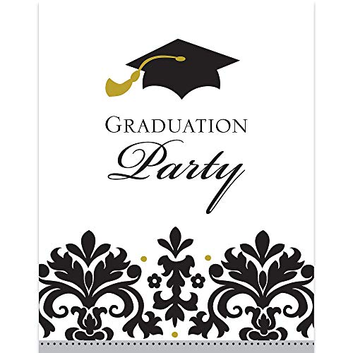 Black and White Grad Postcard Invitations | Party Favor | Pack of 50 -