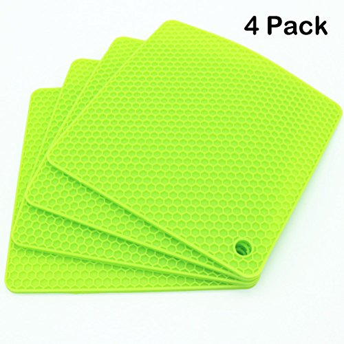 (Lucky Plus Silicone Mat for Counter Top Hot Pads for Pan and Pot Heat Resistant Hot Protector Workshop,Table Placemats 4 Pack,Size:7.5x7.5 Inch, Color: Green,Shape:Square)