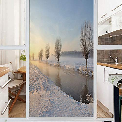 Decorative Window Film,No Glue Frosted Privacy Film,Stained Glass Door Film,Snowy River Landscape Barren and Frosted Trees Dutch Netherlands Europe Photograph Decorative,for Home & Office,23.6In. by 7