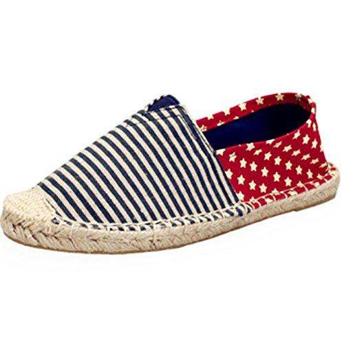 di pigro blue scarpe a uomo scarpe tessuto corda e Red tela scarpe donne Star Un Colore cucito uomini lino strips dimensioni piede alla Nuove pedale 42 scarpa di moda mano ventilazione vxn6pq6gwz