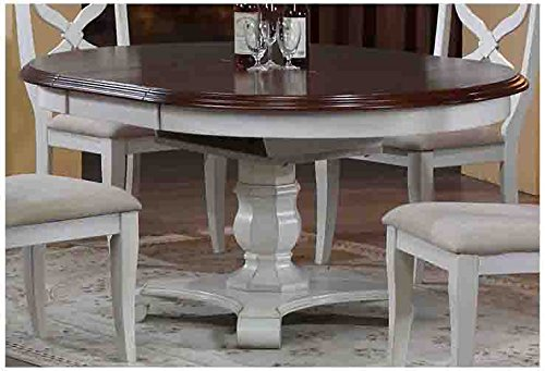 Sunset Trading Andrews Extendable Butterfly Leaf Table with Chestnut Finish Top, Antique White - Chestnut Leaf