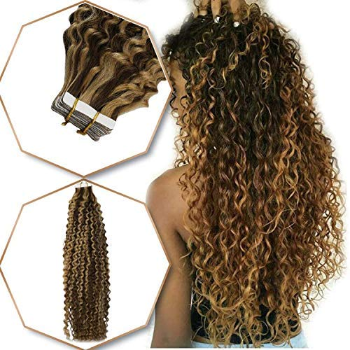 RUNATURE Glue on Remy Human Hair Extensions Kinky Curly 16 Inch Color Chocolate Brown Mix Honey BlondeTape in Real Human Hair Extensions PU Tape Skin Weft 50g Volume No Damage Human Hair Extensions