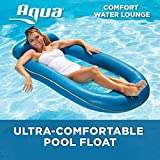 Aqua Comfort Water Lounge, X-Large, Inflatable Pool Float with Headrest & Footrest, Blue Bubble Waves