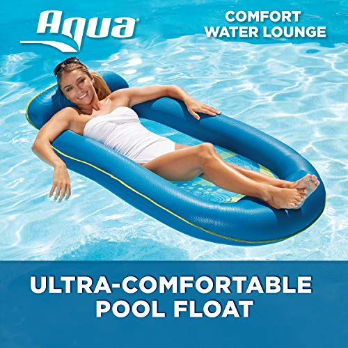 - Aqua Comfort Water Lounge, X-Large, Inflatable Pool Float with Headrest & Footrest, Blue Bubble Waves