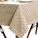 LINENLUX Cotton Linen Tablecloth Macrame Lace Table Cloths Linen Rectangle Table Covers Table Top for Dinner Parties Christmas Holidays or Everyday Use (55.1x98.4In, Green)