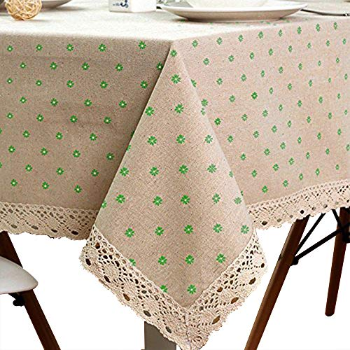 LINENLUX Cotton Linen Tablecloth Macrame Lace Table Cloths Linen Rectangle Table Covers Table Top for Dinner Parties Christmas Holidays or Everyday Use (55.1x98.4In, Green) by LINENLUX