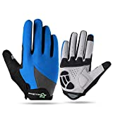 AINIYF Full Finger Gloves | Spring And Autumn Winter Full Fingers Gloves Touch Screen Anti-Slip Full Finger Motorcycle Gloves Cycling Equipment (Color : Blue, Size : S)