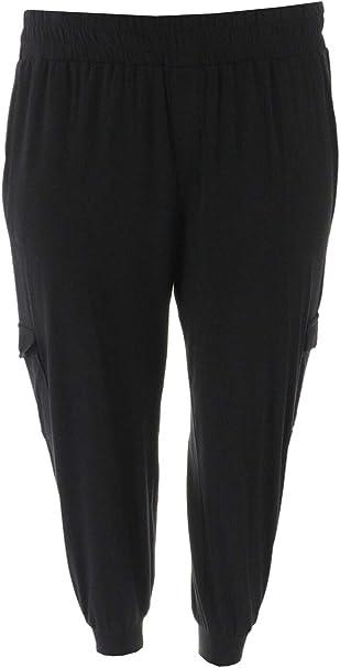 AnyBody Loungewear Tall Cozy Knit Cargo Jogger Pants Black XL NEW A310169