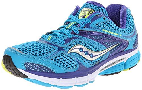 Saucony Women's Echelon 4 Running Shoe,Blue/Purple/Citron,8 M US