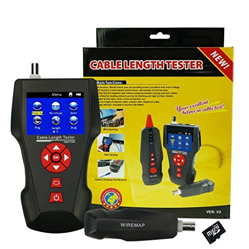 - Multi Function Cable Length Tester for RJ45 RJ11 BNC Coax Telephone Network Cable Tester Error Detector PING POE Function, Free TF Card