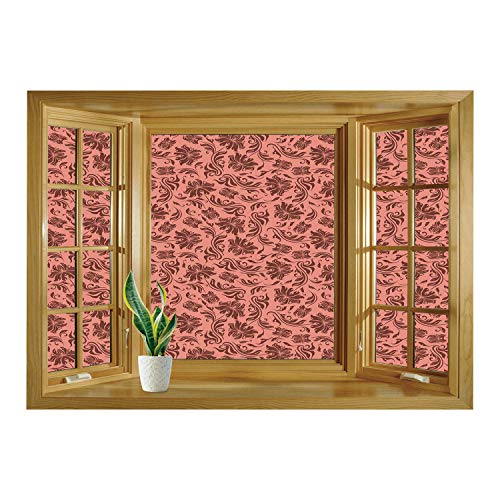 SCOCICI Creative Window View Home Decor/Wall Décor-Peach,Floral Pattern with Abstract Leaves and Flowers Soft Pattern Old School Vintage Decorative,Coral Chocolate/Wall Sticker Mural