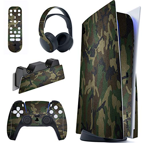 PlayVital Army Green Camouflage Full Set Skin Decal for PS5 Console Regular Edition, PS5 Sticker Vinyl Decal Cover for…