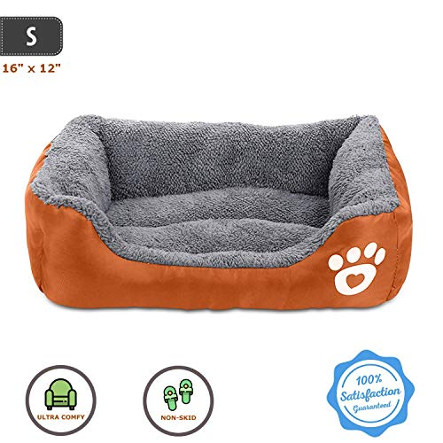 Pet Deluxe Dog Bed, Super Soft Pet Sofa Cats Bed, Non Slip Bottom Pet Lounger,Self Warming and Breathable Pet Bed Premium Bedding (S)-Orange