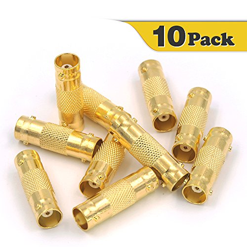 VCE 10-PACK Gold plated BNC Female to BNC Female CCTV Security Camera Adapter Straight Connector - Straight Female Coupler