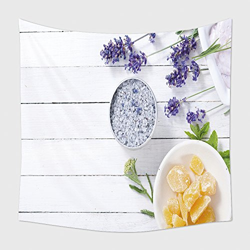 Domicile Decor Tapestry Wall Hanging Cosmetic Creams Lip Balm Soap And Bath Salt With Herbal Flowers On Fair-skinned Wooden Table 562230022 for Bedroom Living Room Dorm