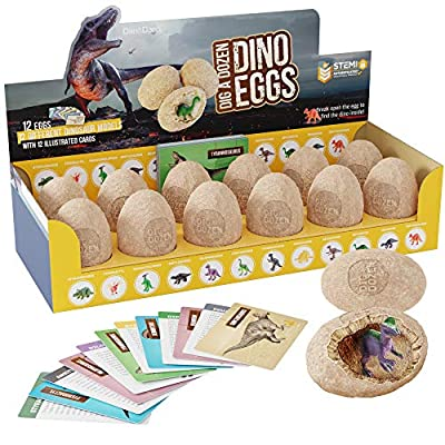 Dig a Dozen Dino Eggs Kit - Break Open 12 Unique Dinosaur Eggs and Discover 12 Cute Dinosaurs - Easter Archaeology Science STEM Gift