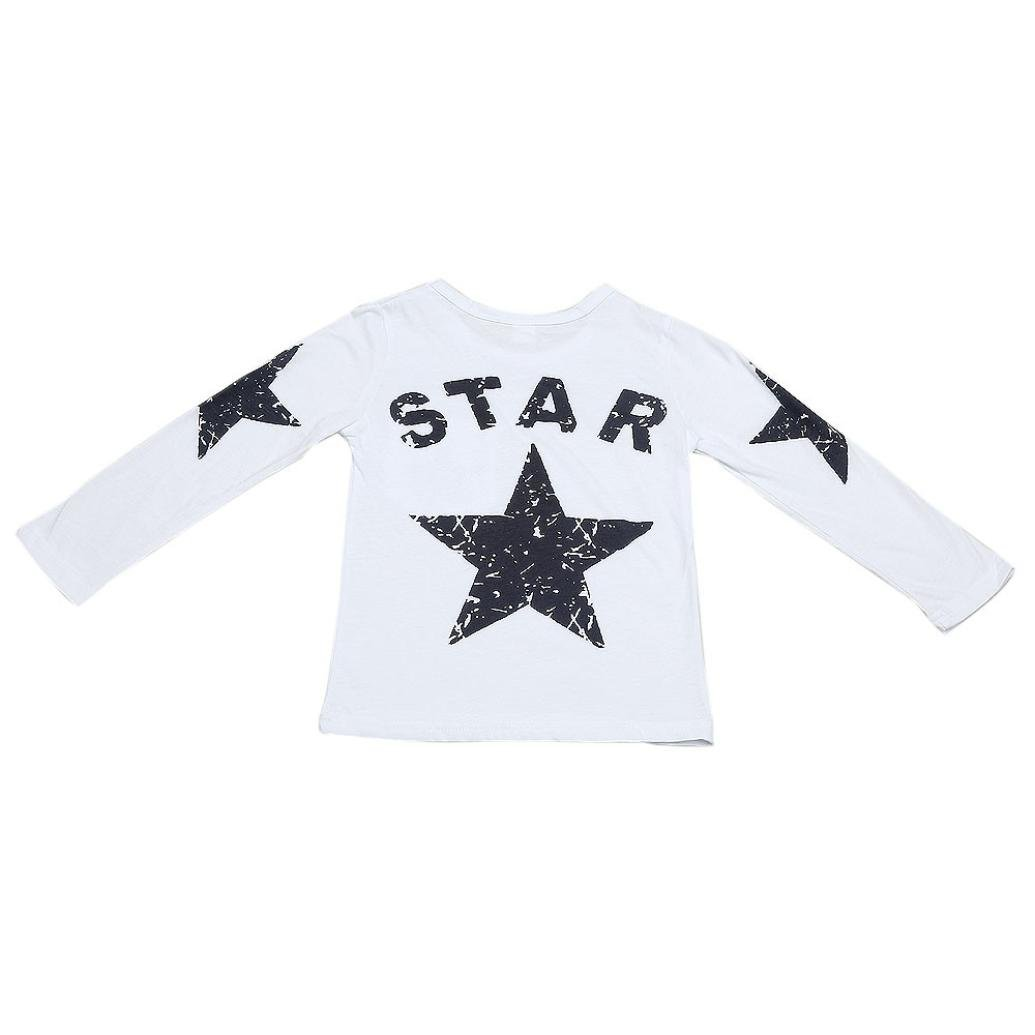 Baby Toddler Boys Autumn Winter Long Sleeve Tops T Shirt Fashion Kids Child Star Print Sweatshirt Clothes 2-6T (5-6 Years Old, White)