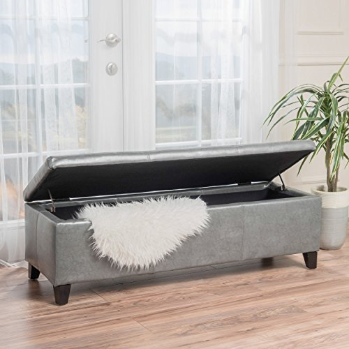 Christopher Knight Home 298341 Living Sarelia Bonded Leather Storage Ottoman Bench, Dark Grey