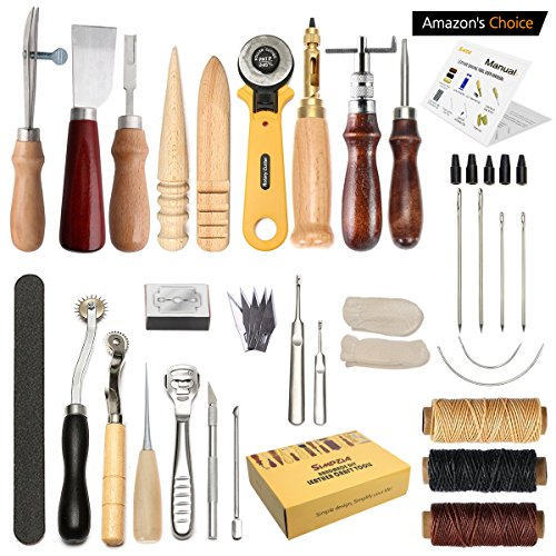 Leather Craft Tool SIMPZIA 25 Pcs Professional Leather Sewing Kit DIY Hand Stitching Tools with Groover Awl Edge Creaser.Be Careful of Its sharp edges Keep Way from Children