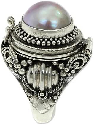 NOVICA Dyed Pink Cultured Mabe Pearl .925 Sterling Silver Locket Ring, 'Rose Secret'