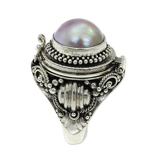 (NOVICA Dyed Pink Cultured Mabe Pearl .925 Sterling Silver Locket Ring, Rose Secret')
