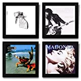 Pinnacle Frames and Accents Show & Listen Album Cover Display Frame, Flip Frame Displays Vinyl Records, 12.5x12.5, Black, Set of 4