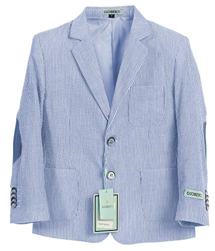 Gioberti Boys and Kids Lightweight Spring Seersucker Blazer Jacket, Blue, Size 10 ()