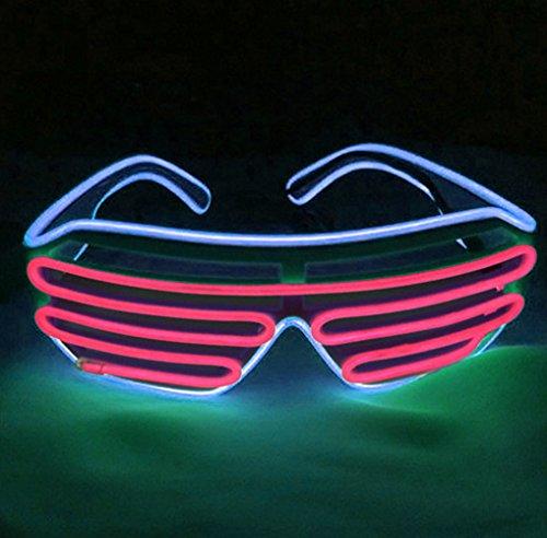 EL Glasses LED Light Up Rave Party Glasses Sunglasses Light (Blue Frame+Red)