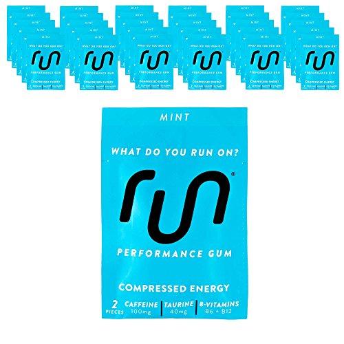 - RUN GUM Mint Energy Chewing Gum 50mg Caffeine Taurine & B-Vitamins 64 Pieces (32pk) Best Value