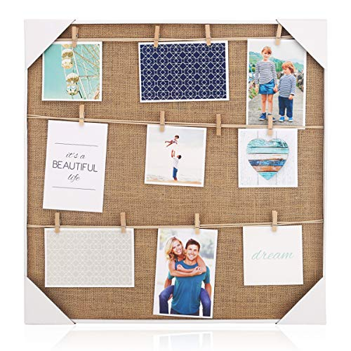 (HANTAJANSS Clip Photo Holder, Photo Collage Frame, Large Picture Display Frame with 12 Wood Clothespin Clips for Hanging Home Decoration 20 ×20 inches Brown)