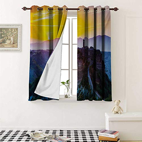 (Italian Waterproof Window Curtain Old Historic Castle Town on Top of The Hills in Italian Renaissance at Sunset Print Curtains Living Room W55 x L45 Inch Multicolor)