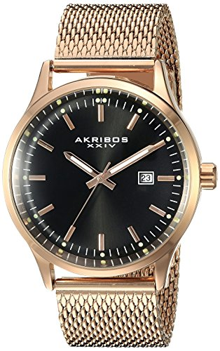 Akribos XXIV Men's AK901RGB  Round Black Radiant Sunburst Dial Three Hand Quartz Movement Rose Gold Tone Bracelet Watch