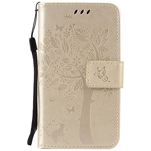 Samsung Galaxy Core LTE 4G SM-G386F/ Avant G386T Case, C-Super Mall Embossed Tree Cat Butterfly Pattern PU Leather Wallet Stand Flip Case for Samsung Galaxy Core LTE 4G SM-G386F/ Avant G386T(Golden)