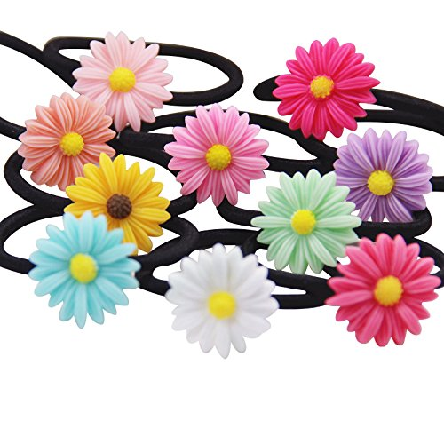 Flower Hair Tie - Munax 36 pcs Girls Toddlers Kids Women Hair Holders With flowers Hair Ties Elastic Rubber Bands