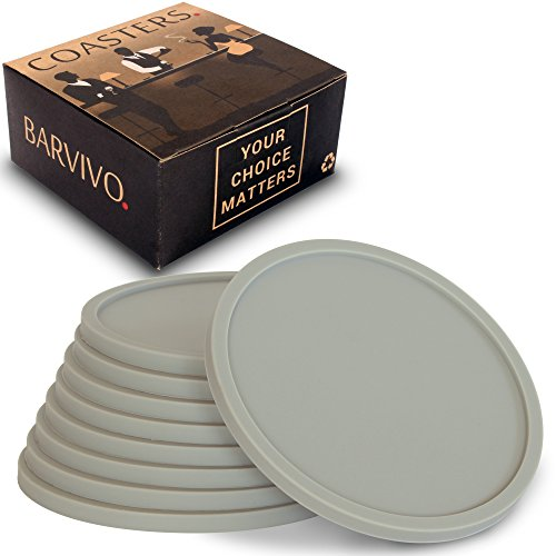 Barvivo Drink Coasters by Set of 8 - Tabletop Protection For Any Table Type, Wood, Granite, Glass, Soapstone, Marble, Stone Tables - Perfect Grey Soft Coaster Fits Any Size of Drinking Glasses. (Non Skid Rubber Coaster)