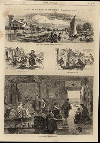 Flooding New Orleans Canal Street Postal System Deluge 1871 nice antique print