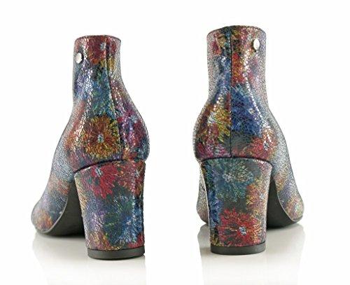 BOSCCOLO 3955-56 Summer Booties, Sommer Stiefeletten, Bottes, Leder, Leather Flower dark