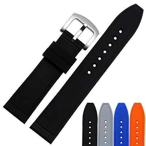 MSTRE GJ12 Silicone Couple Watch Band Soft Rubber Replacement (24, Black) by MSTRE
